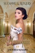Cover of The Mannequin, featuring a beautiful brunette wearing a white gown. She's standing in a luxurious gold ballroom, holding a white eye mask mounted on a dowel.