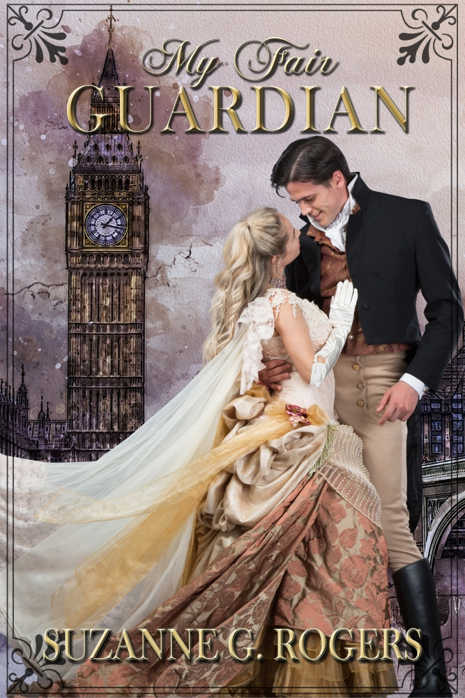 Cover of My Fair Guardian with a romantic couple against a London backdrop.